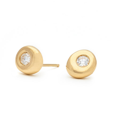 "Gold ""Berry Luck"" Stud Earrings with Diamond Centers"