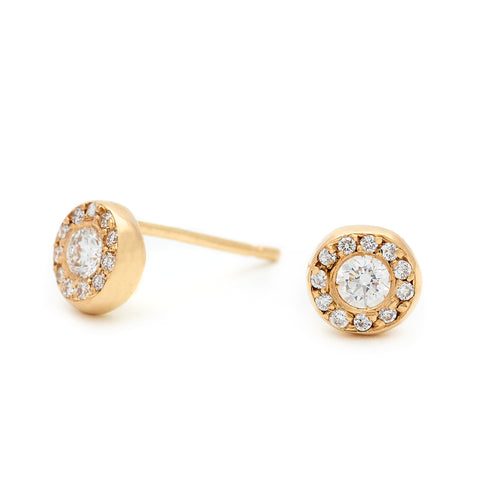 "Gold ""Quail Luck"" Stud Earrings with Diamonds"