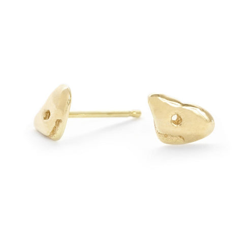 "Gold ""Ledge"" Lucky Stone Stud Earrings"