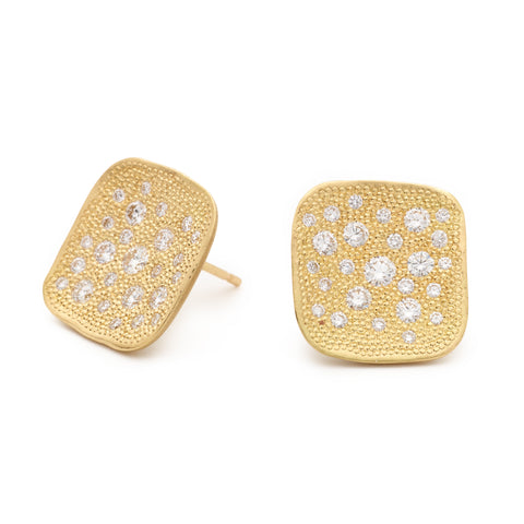 "Gold and Diamond Organic Square ""Stardust"" Earrings"