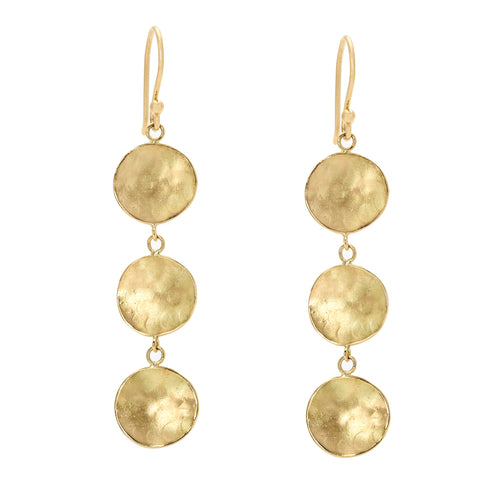 Anne Sportun Gold Triple Hammered Disc Drop Earrings