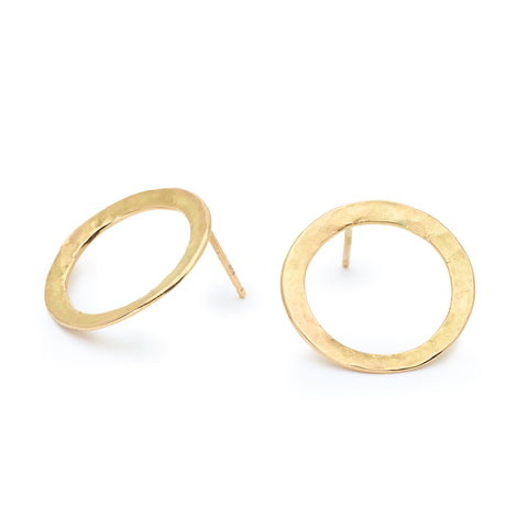Gold Hammered Open Circle Disc Post Earrings