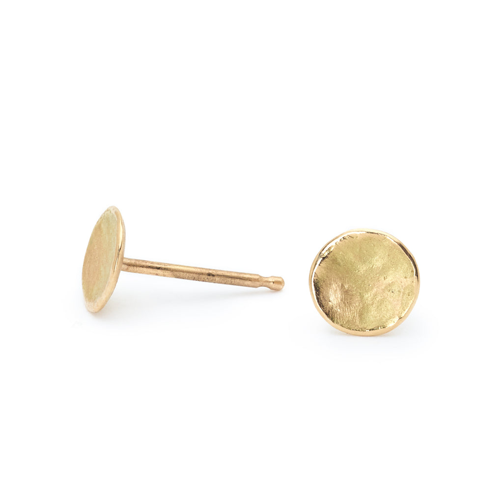 "Anne Sportun Gold Small Round Hammered ""Disc"" Stud Earrings"