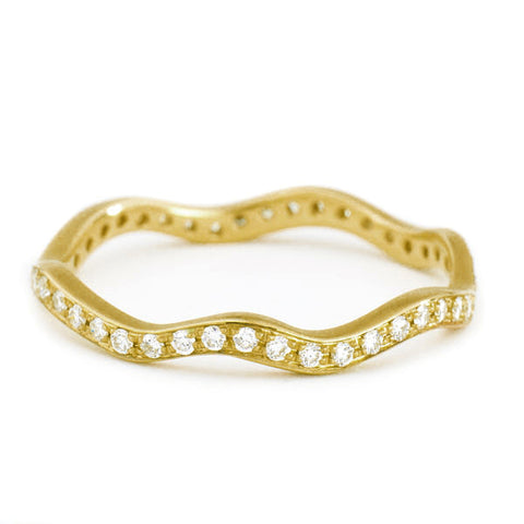 "Gold and Pave Diamond ""Wave"" Ring"