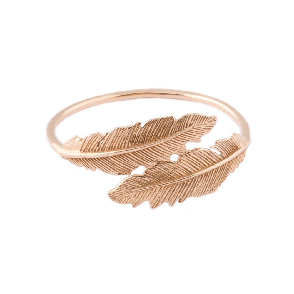 "Tiny Om Rose Gold Feather ""Wrap"" Ring"