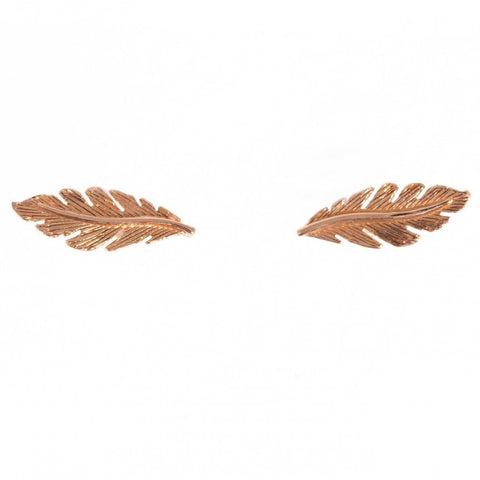 Tiny Om Rose Gold Feather Studs