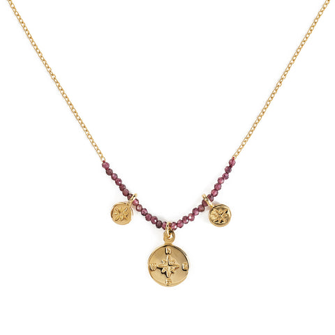 "The Brave Collection Garnet ""Compass"" Necklace"