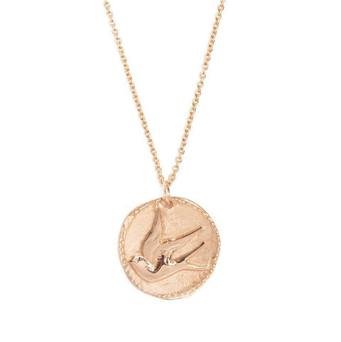 "Tiny Om Rose Gold ""Graceful Songbird Medal"" Disc Necklace"