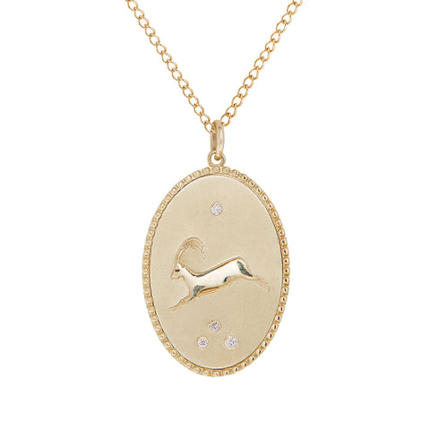 "Zahava 10K Gold Large ""Ibex"" Pendant Necklace"