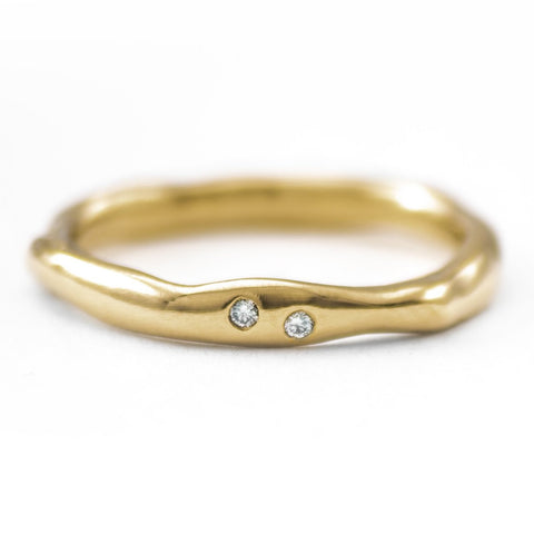 Gold Thin Melt Band with Two Diamonds