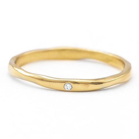 Gold Thinnest Melt Band with One Diamond