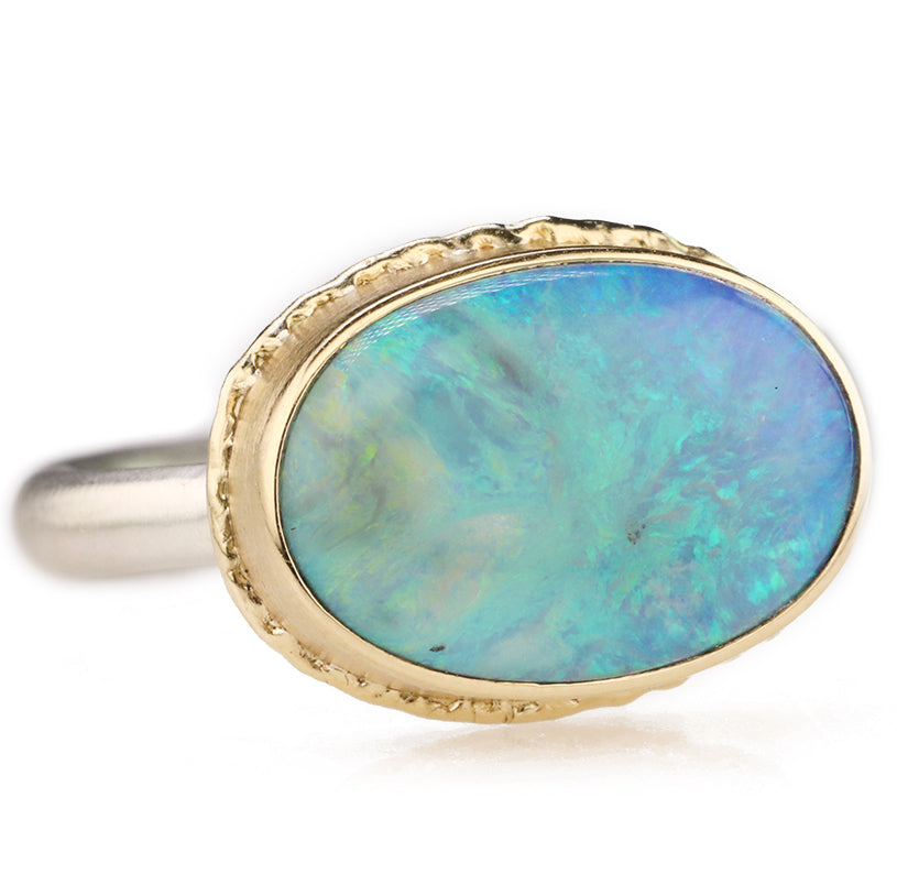 Jamie Joseph Smooth East-West Oval Australian Opal Ring