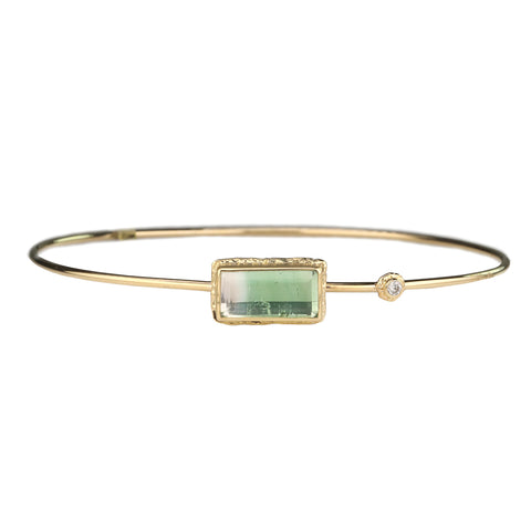 "Rectangular ""Table Up"" Green Tourmaline Bracelet with Diamond Accent"