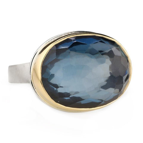 Jamie Joseph Oval Rosecut London Blue Topaz Ring