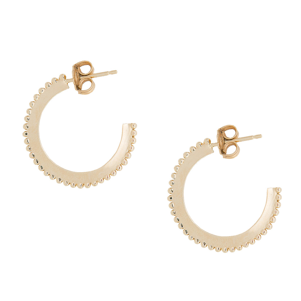 "10K Gold Large ""Dotted"" Hoop Earrings"