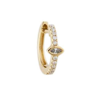 Jacquie Aiche Gold Pave Diamond Mini Hoop Earring with Marquise Diamond Center