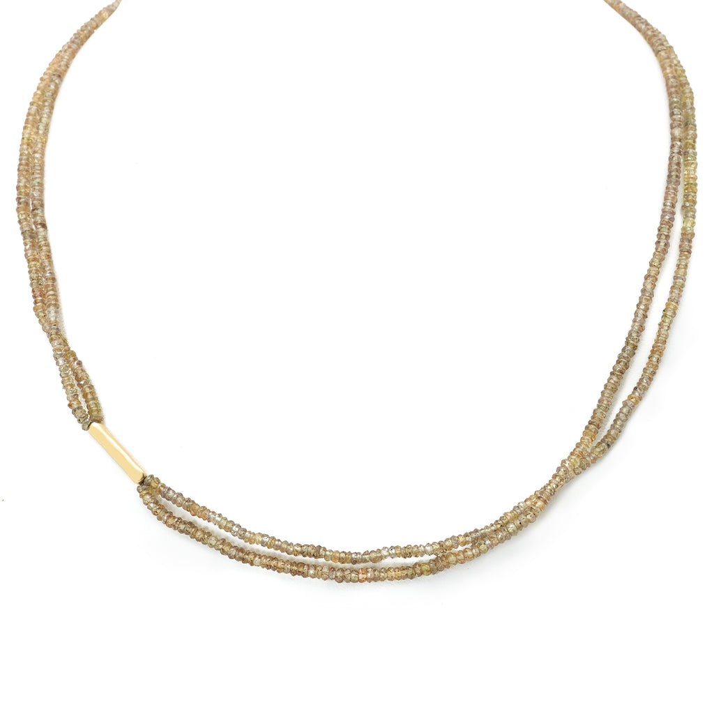 Anne Sportun Faceted Champagne Garnet Double Strand Necklace
