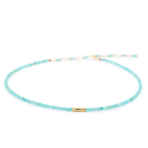 Faceted Amazonite Beaded Choker Necklace