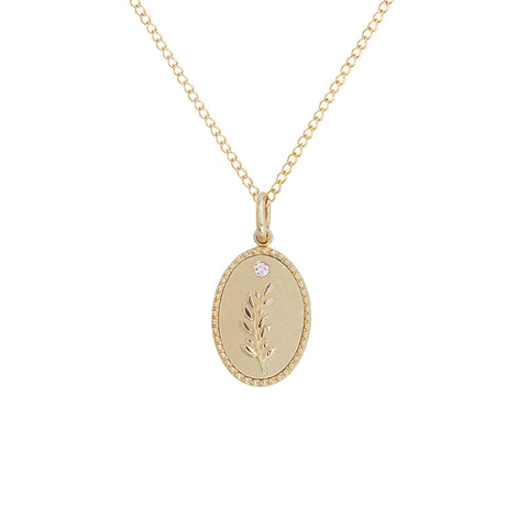"10K Gold Small ""Olive Branch"" Necklace on 18"" Chain"