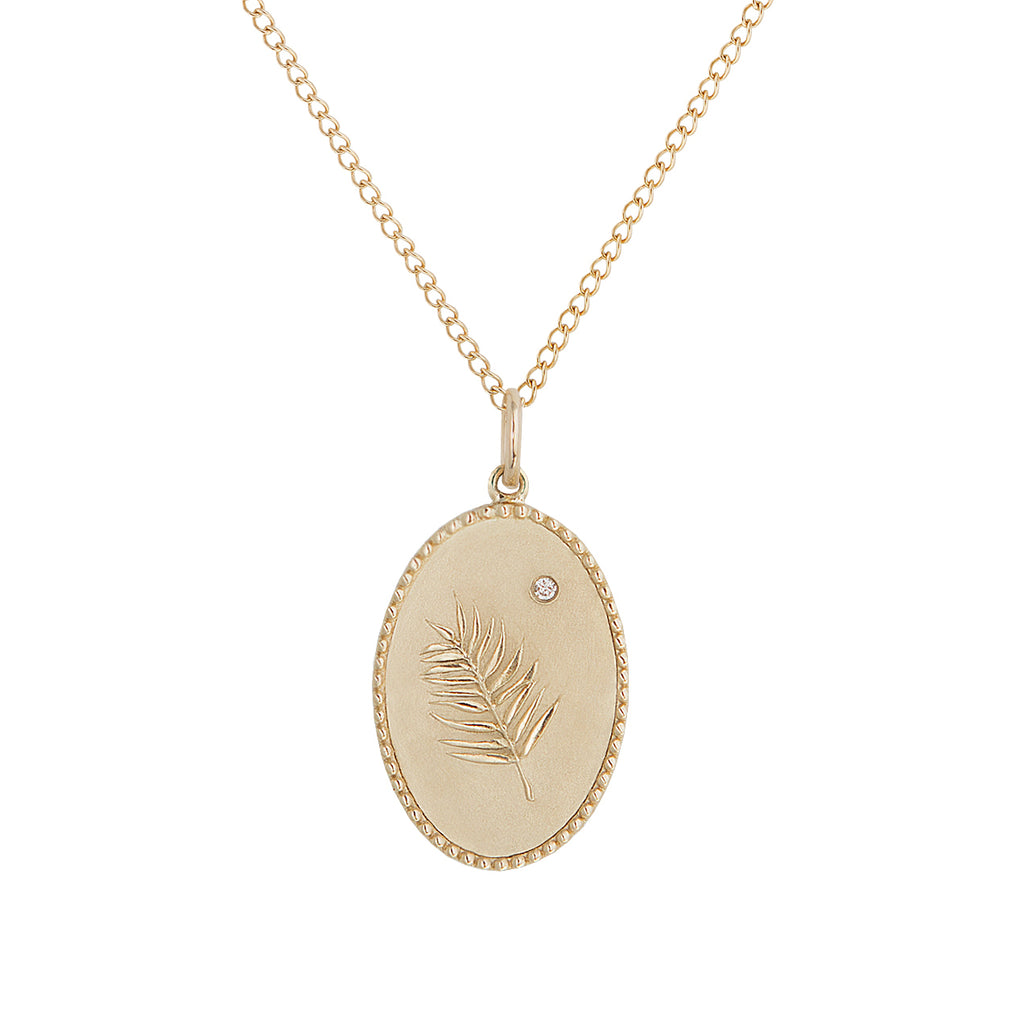 "10K Gold Medium ""Palm Leaf"" Necklace on 18"" Chain"