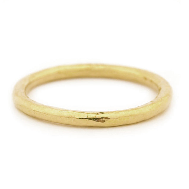 Gold Round Hammered Ring
