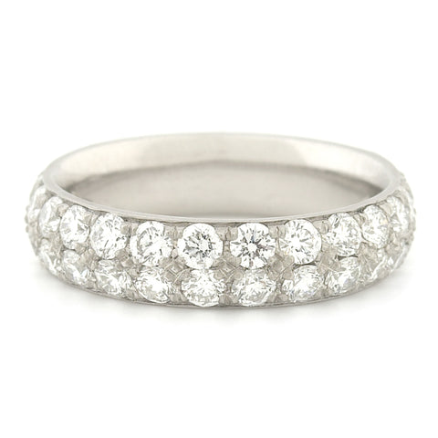 Anne Sportun Platinum Double Row Pave Diamond Ring