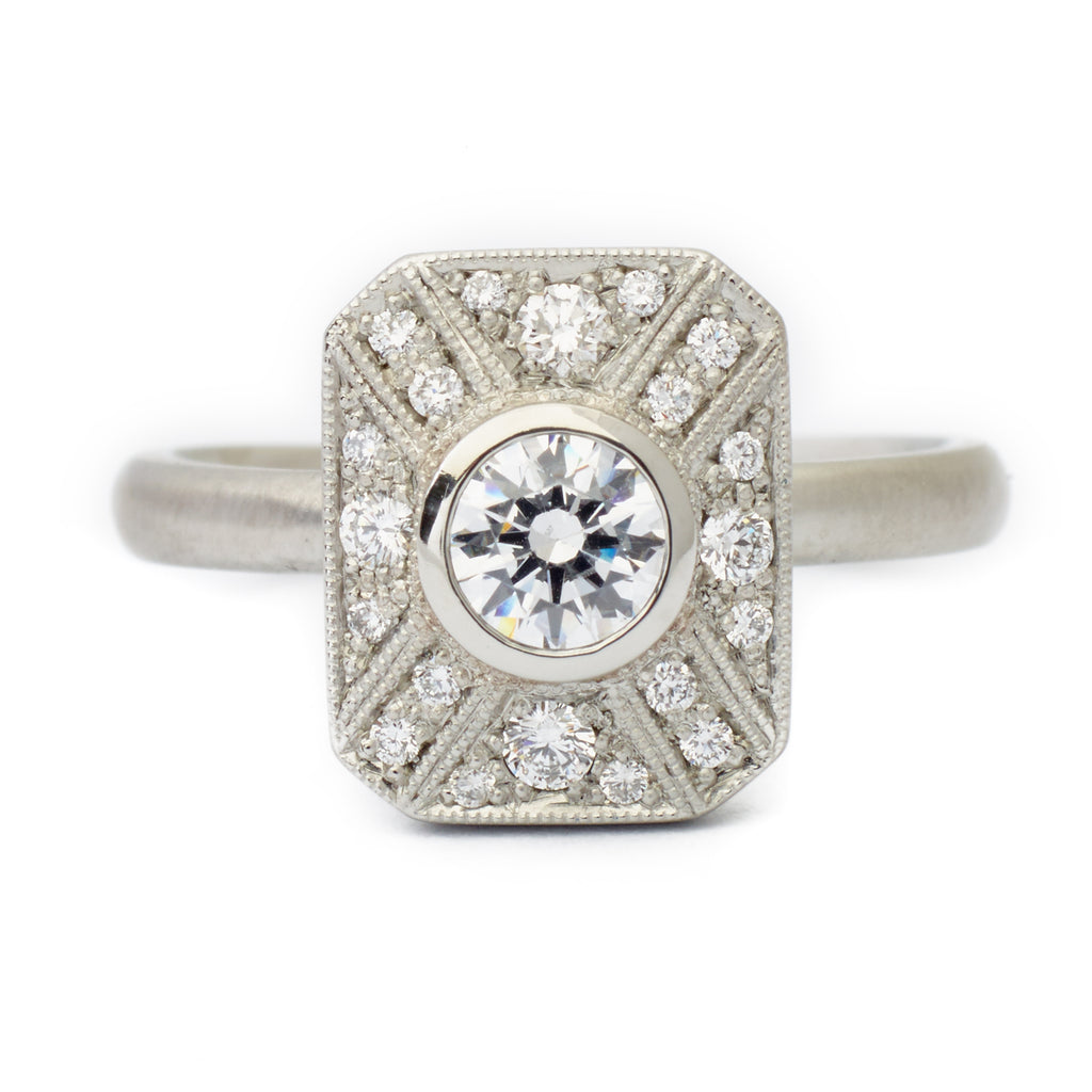 "Anne Sportun Rectangular ""Vivien"" Ring with Milgrain and Diamond Detail"