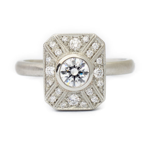 "Rectangular ""Vivien"" Ring with Milgrain and Diamond Detail"