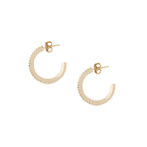 "10K Gold Small ""Dotted"" Hoop Earrings"