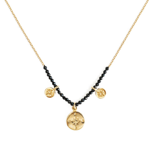 "The Brave Collection Black Spinel ""Compass"" Necklace"
