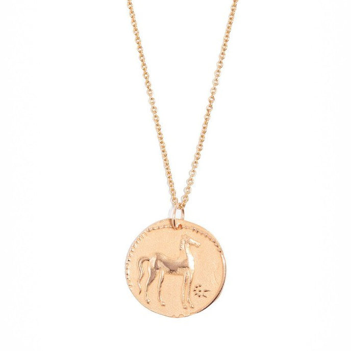 "Rose Gold ""Spirited Horse Medal"" Necklace"