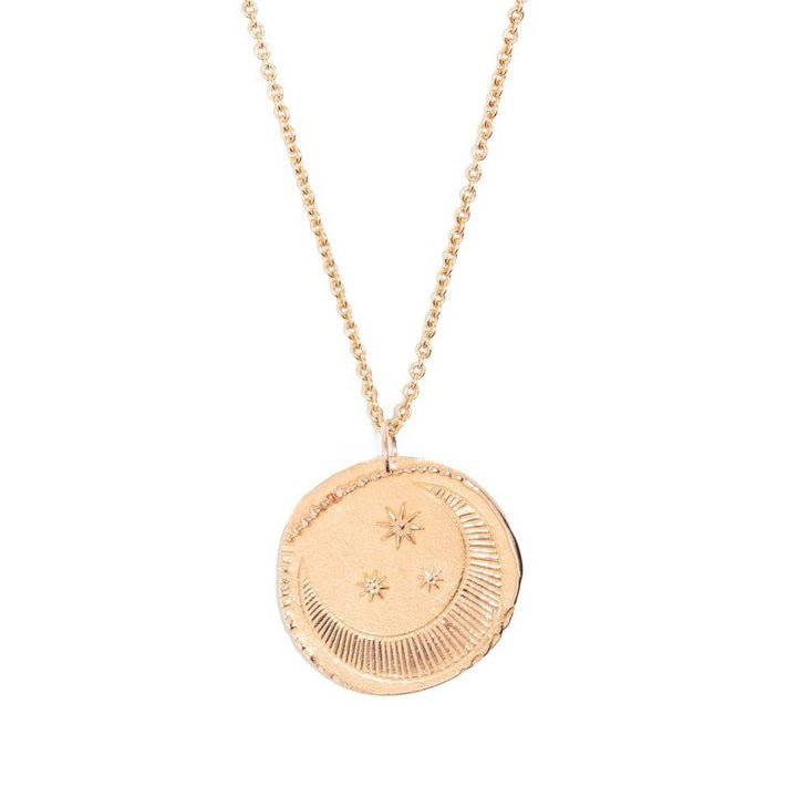 "Tiny Om Rose Gold ""Starry Moon Medal"" Disc Necklace"