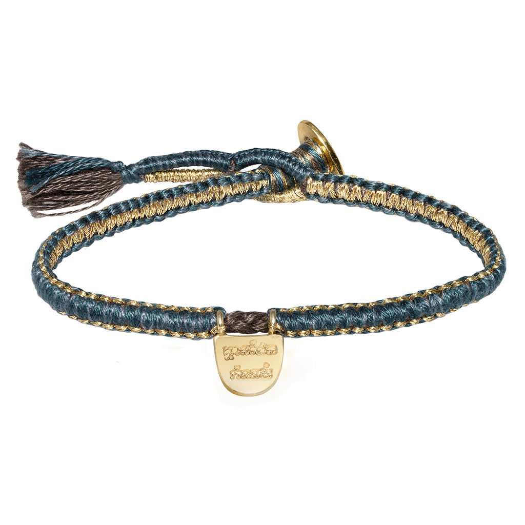 "Gold Vermeil ""Without Limits"" Bracelet on Teal Cotton Cobra Cord"