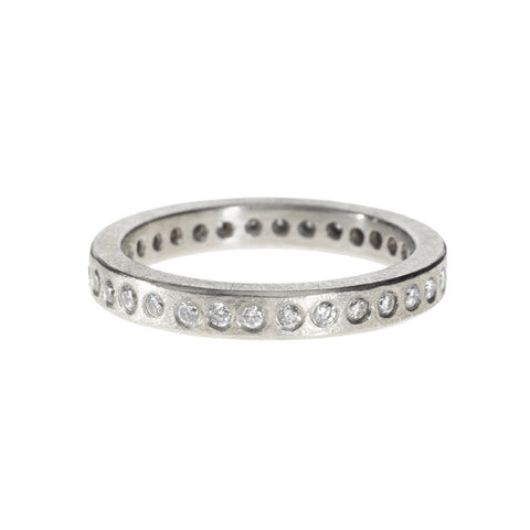 Palladium Eternity Band with White Brilliant-Cut Diamonds