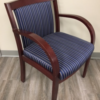 KRUG BLUE FABRIC PIN STRIPE SIDE CHAIR