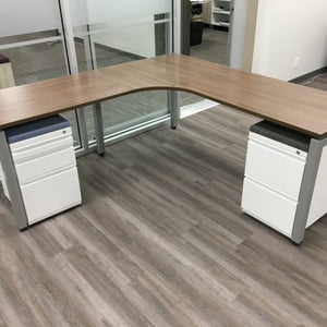 L SHAPE DESK WITH CUSHION TOP PEDESTALS