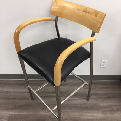 BAR STOOL WITH LEATHER SEAT CUSHION