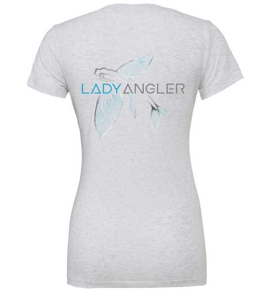 Flying Fish Tri-blend SS Deep V-Neck Tee - Lady Angler Co