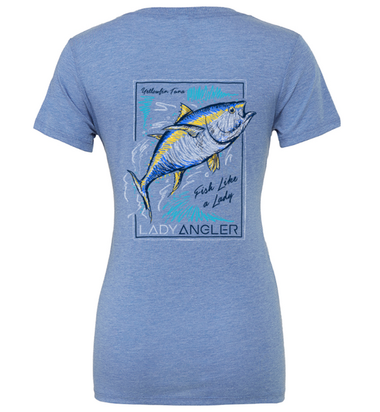 Tuna Tri-blend SS Deep V-Neck Tee - Blue - Lady Angler Co