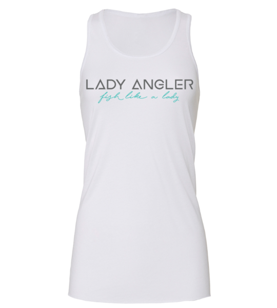 Signature Lady Angler Flowy Racerback Tank - White - Lady Angler Co