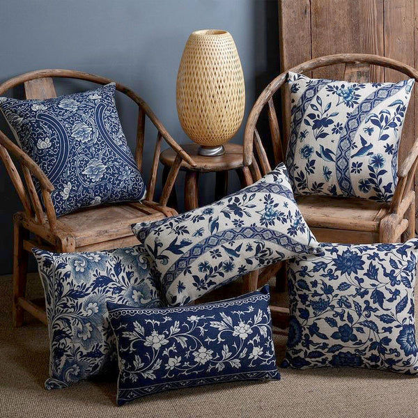 Blue Paisley Flower Cushion Covers by Cushions Int.