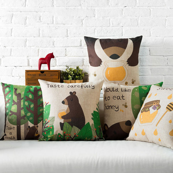 Cute Honey Bear Cushion Covers by Cushions Int.