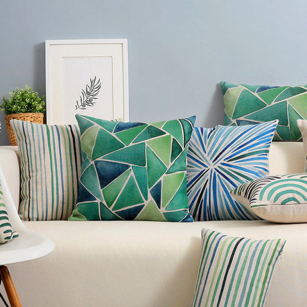 Buy the Teal Shades & Leaves Cushion Covers by Cushions Int.