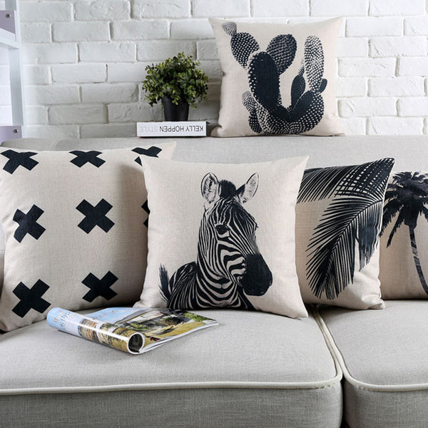Tropical Monochrome Cushion Covers by Cushions Int.