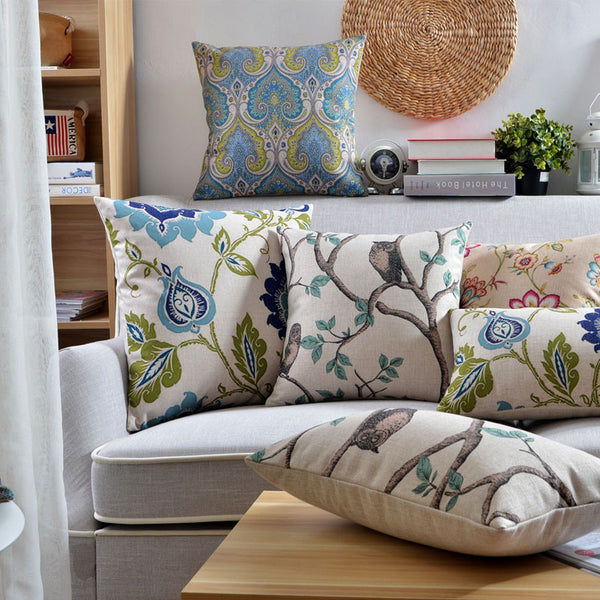 Country Chic Inspired Blue & Cream Floral Cushion Covers by Cushions Int.