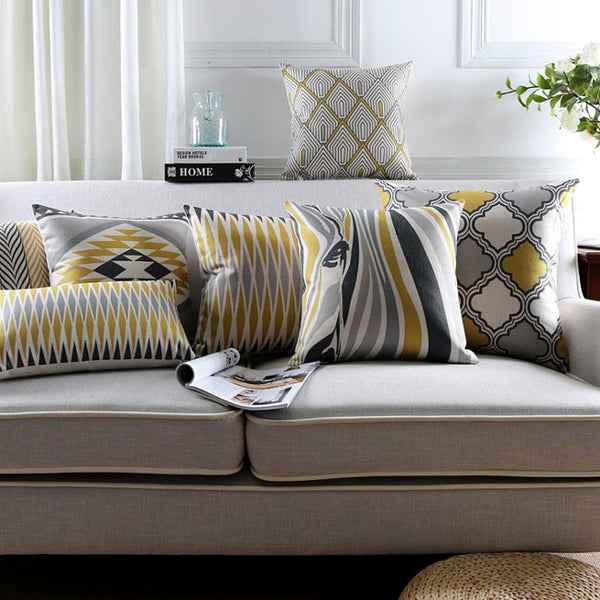 Yellow & Grey Zebra Geometric Cushion Covers by Cushions Int.