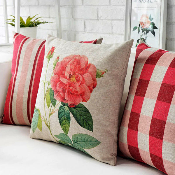 Rose Floral, Stripe & Check Cushion Covers by Cushions Int.