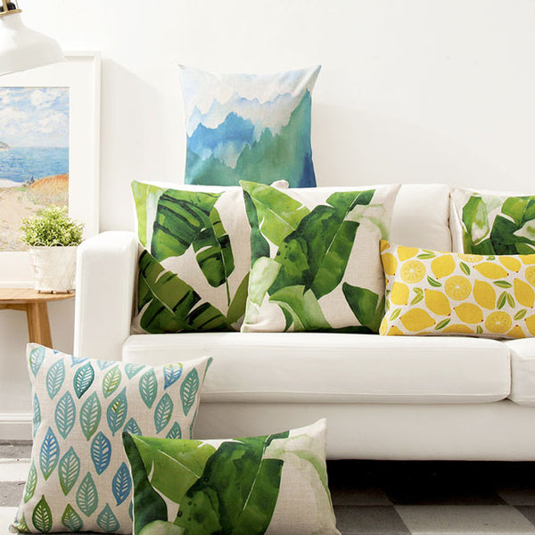 Buy the Watercolour Green Leaf Cactus Cushion Covers by Cushions Int.