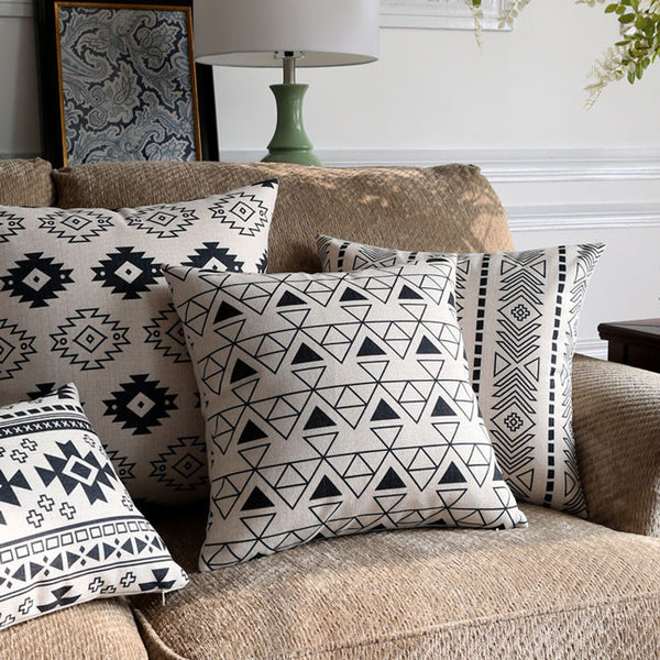 Buy the Black & White Aztec Indian Cushion Covers by Cushions Int.