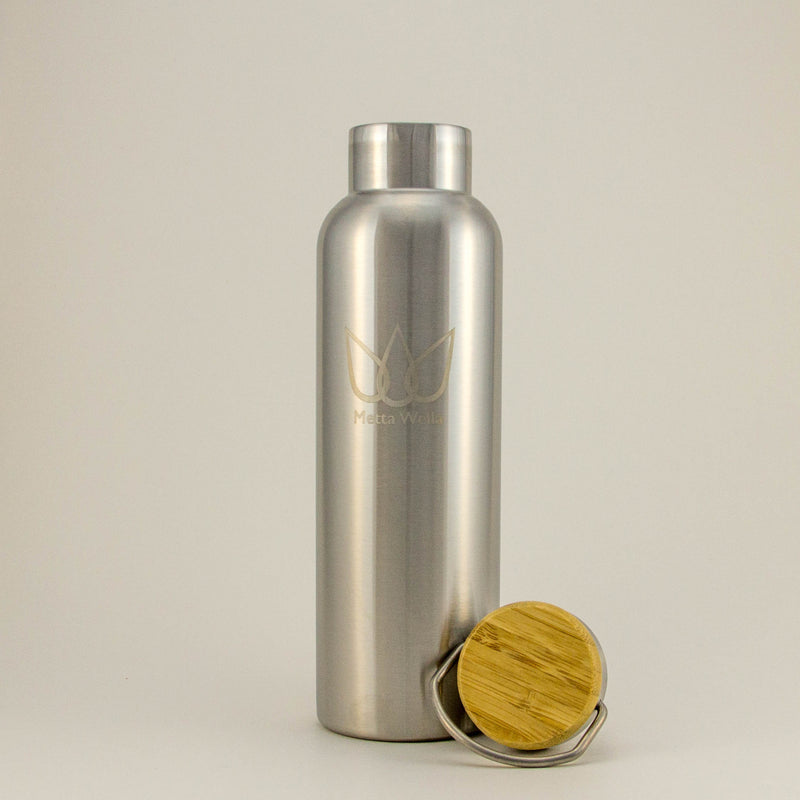 Trail Master - Stainless Steel Bottle with Genuine Bamboo Lid Inlay, Double walled Vacuum Insulated